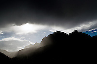 A storm descends on Passo Gardena, above Corvara in Badia, Südtirol, Italy, in the heart of the Dolomites.