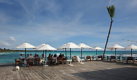 Terrace of the Boca Marina restaurant, at Boca Chica, Dominican Republic, in the Caribbean. Picture by Manuel Cohen