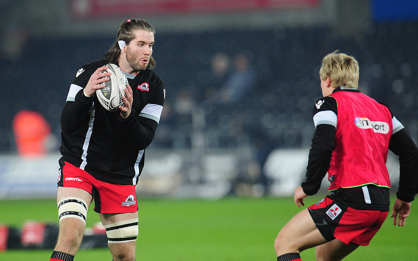 Edinburgh's Ben Toolis during the pre match warm up<br /> <br /> Photographer Kevin Barnes/CameraSport<br /> <br /> Guinness PRO12 Round 10 - Ospreys v Edinburgh Rugby - Friday 2nd December 2016 - Liberty Stadium - Swansea<br /> <br /> World Copyright &copy; 2016 CameraSport. All rights reserved. 43 Linden Ave. Countesthorpe. Leicester. England. LE8 5PG - Tel: +44 (0) 116 277 4147 - admin@camerasport.com - www.camerasport.com