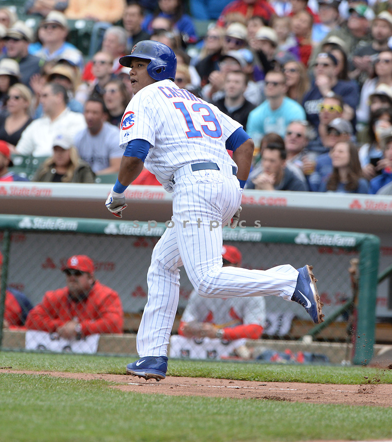 Chicago Cubs Starlin Castro (13) during a game against the St. Louis Cardinals on May 3, 2014 at Wrigley Field in Chicago, IL. The Cubs beat the Cardinals 3-0.