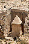 Israel, Jerusalem, Kidron valley, the Tomb of Zecharia is carved at the foot of the Mount of Olives facing Temple Mount. Above is the Jewish cemetery<br />