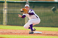 High Point Panthers first baseman Sal Pezzino #43 waits for a throw during the game against the Manhattan Jaspers at Willard Stadium on March 9, 2012 in High Point, North Carolina.  The Panthers defeated the Jaspers 11-6.  (Brian Westerholt/Four Seam Images)