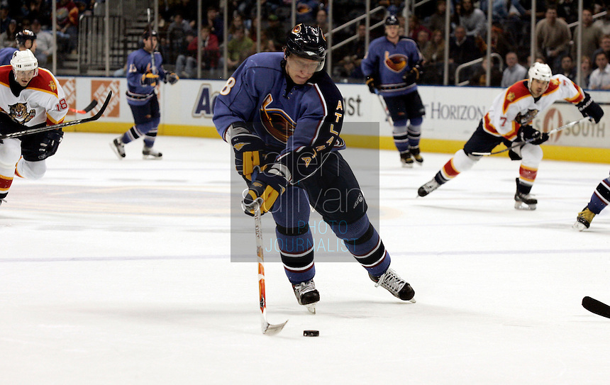 Atlanta Thrashers right wing Marian Hossa controls the puck in the third period against the Florida Panthers at Philips Arena. The Thrashers won the game 1-0.<br />