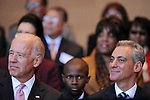 (L-R) Vice-President Joe Biden and Chicago Mayor Elect Rahm Emanuel appear on stage together at Emanuel's inauguration ceremony as Chicago mayor in Millennium Park in Chicago, Illinois on May 16, 2011.
