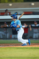 Mikey Filia (29) of the Burlington Royals follows through on his swing against the Danville Braves at Burlington Athletic Stadium on August 9, 2019 in Burlington, North Carolina. The Royals defeated the Braves 6-0. (Brian Westerholt/Four Seam Images)