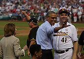 United States President Barack Obama, center, watches the 2015 Congressional Baseball Game with US Representative Donna Edwards (Democrat of Maryland), lower center, US Representative Dan Kildee (Democrat of Michigan), right, and US Representative Mike Doyle (Democrat of Pennsylvania), second left, and US House Minority Leader Nancy Pelosi (Democrat of California), left, at Nationals Park Stadium, in Washington, DC on June 11, 2015. <br /> Credit: Aude Guerrucci / Pool via CNP