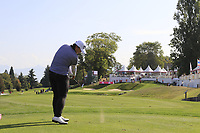 Amy Tang (KOR) tees off the par3 16th tee during Thursday's Round 1 of The Evian Championship 2018, held at the Evian Resort Golf Club, Evian-les-Bains, France. 13th September 2018.<br /> Picture: Eoin Clarke | Golffile<br /> <br /> <br /> All photos usage must carry mandatory copyright credit (&copy; Golffile | Eoin Clarke)