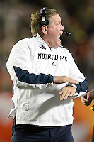 January 7, 2013: Notre Dame head coach Brian Kelly  during 1st half of the Discover BCS National Championship game between the Alabama Crimson Tide and the Notre Dame Fighting Irish at Sun Life Stadium in Miami Gardens, Fl