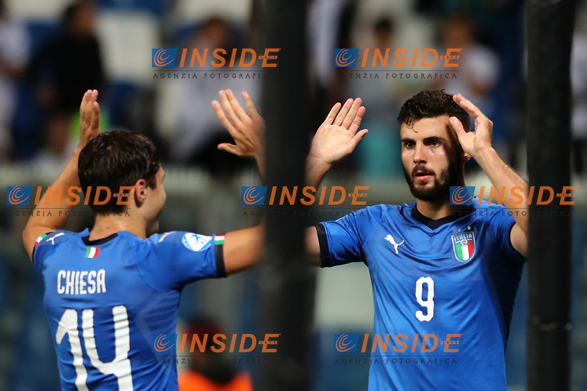 Patrick Cutrone of Italy celebrates with team mate after scoring a goal <br /> Reggio Emilia 22-06-2019 Stadio Città del Tricolore <br /> Football UEFA Under 21 Championship Italy 2019<br /> Group Stage - Final Tournament Group A<br /> Belgium - Italy<br /> Photo Cesare Purini / Insidefoto