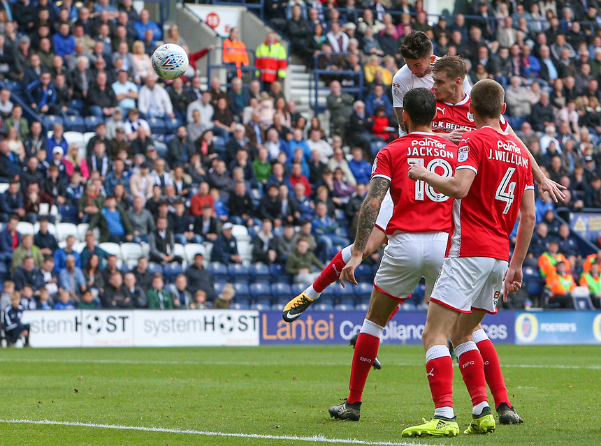 Preston North End's Sean Maguire scores the opening goal <br /> <br /> Photographer Alex Dodd/CameraSport<br /> <br /> The EFL Sky Bet Championship - Preston North End v Barnsley - Saturday 9th September 2017 - Deepdale Stadium - Preston<br /> <br /> World Copyright &copy; 2017 CameraSport. All rights reserved. 43 Linden Ave. Countesthorpe. Leicester. England. LE8 5PG - Tel: +44 (0) 116 277 4147 - admin@camerasport.com - www.camerasport.com