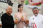"""October 6, 2016, Tokyo, Japan - Japanese actress Maiko toasts with French restaurant chef Kiyomi Mikuni and food expert Yukio Hattori at the promotional event of the """"Taste of Tokyo"""" in Tokyo on Thursday, October 6, 2016. The Taste of Tokyo is an gastronomy event using Tokyo's agriculture products at Marunouchi area through October 9.   (Photo by Yoshio Tsunoda/AFLO) LWX -ytd-"""