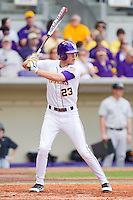 JaCoby Jones #23 of the LSU Tigers at bat against the Wake Forest Demon Deacons at Alex Box Stadium on February 19, 2011 in Baton Rouge, Louisiana.  The Tigers defeated the Demon Deacons 4-3.  Photo by Brian Westerholt / Four Seam Images