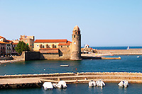 The church Eglise Notre Dame des Anges, our lady of the angels. With its emblematic church tower. Collioure. Roussillon. France. Europe.