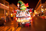 A float in Sutter Creek's annual Parade of Lights Christmas parade downtown on a rainy night in the  Mother Lode of Calif.