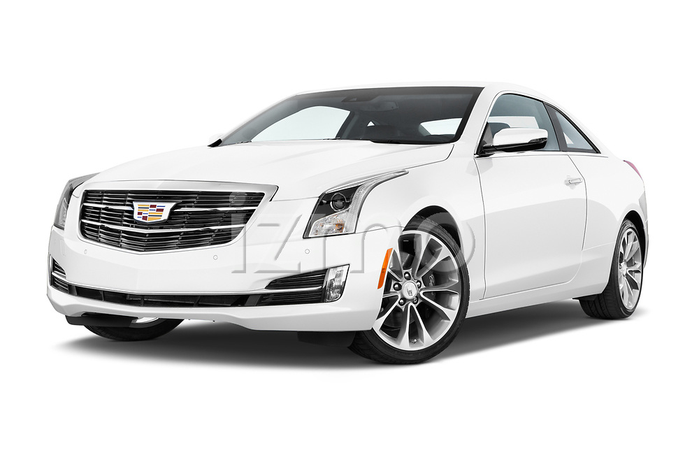 Stock pictures of low aggressive front three quarter view of 2015 Cadillac ATS 2.0 RWD Premium 2 Door Coupe Low Aggressive