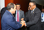Egypt's President Abdel Fattah al-Sisi meets with Ethiopian Prime Minister Haile Mariam Dessalines, in Ethiopia's capital Addis Ababa, January 30, 2016. Photo by Egyptian President Office