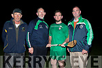Pictured at the Ballyduff Senior Hurling Team Press night on Friday evening were l-r: Diarmuid O'Carroll (Selector), Bobby Thornhill (Manager), Mikey Boyle (Capt) and Liam Ross (Chairman).