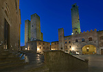 Europe, Italy, Tuscany, San Gimignano, Piazza Duomo at Twilight