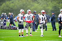 June 6, 2017: New England Patriots wide receiver Danny Amendola (80), wide receiver Julian Edelman (11) and wide receiver Brandon Cooks (14) wait for drills to start at the New England Patriots mini camp held on the practice field at Gillette Stadium, in Foxborough, Massachusetts. Eric Canha/CSM