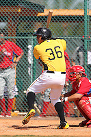 Pittsburgh Pirates outfielder Jose Osuna #36 at bat during a minor league spring training game against the Philadelphia Phillies at Pirate City on March 19, 2012 in Bradenton, Florida.  (Mike Janes/Four Seam Images)