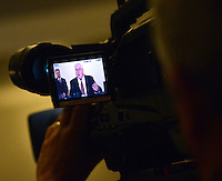 DOYLESTOWN, PA - JUNE 20: Bucks County District Attorney David Heckler is seen through a television camera monitor speaks with the media during a news conference June 20, 2014 at the Bucks County Courthouse in Doylestown, Pennsylvania. (Photo by William Thomas Cain/Cain Images)
