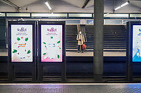 An unusual quiet underground platform by the central train station, Jernbanetorget.  A lone traveller waiting for the underground wearing a face mask. Oslo is quiet as Covid-19 reached the Norwegian capital.  The Coronavirus promoted authorities to restrict business and travel in the country. <br /> <br /> ©Fredrik Naumann/felix Features
