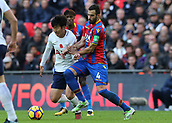 5th November 2017, Wembley Stadium, London England; EPL Premier League football, Tottenham Hotspur versus Crystal Palace; Luka Milivojevic of Crystal Palace challenges Son Heung-Min of Tottenham Hotspur