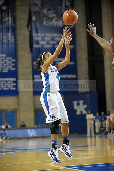 UK's Keyla Snowden takes a jump shot during the second half of the University of Kentucky Women's basketball game against Alabama A&M at Memorial Coliseum in Lexington, Ky., on 12/18/10. Uk won the game 84-58. Photo by Mike Weaver | Staff