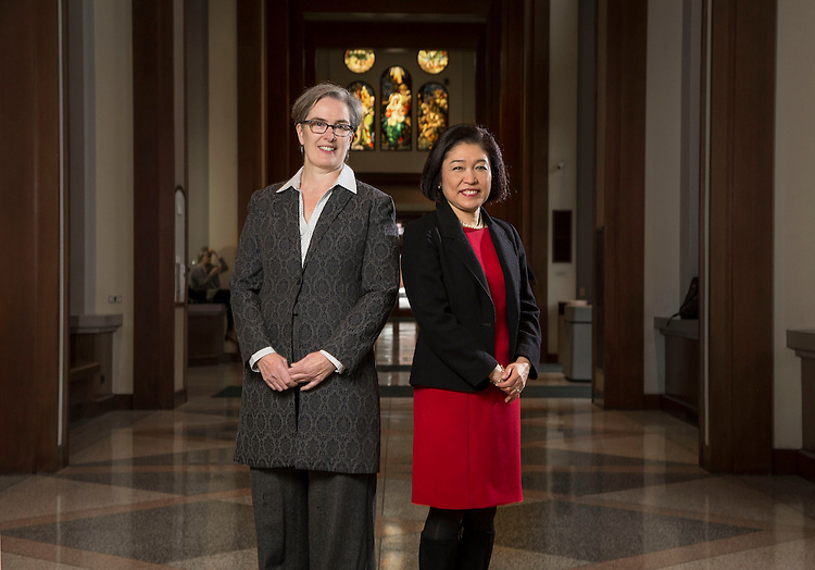 DePaul University announces Lucy Rinehart, left, will be interim dean of College of Liberal Arts and Social Sciences and Judy Bundra will be interim dean of the School of Music. Wednesday, Nov. 12, 2014. (DePaul University/Jamie Moncrief)