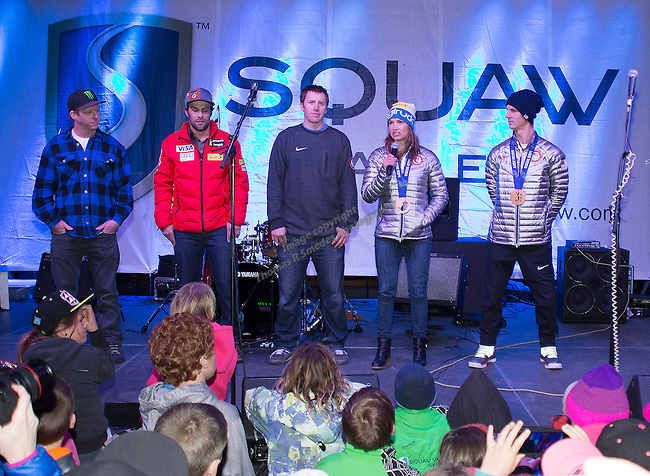 during the Olympic Homecoming Celebration at Squaw Valley on Friday night, March 21, 2014.