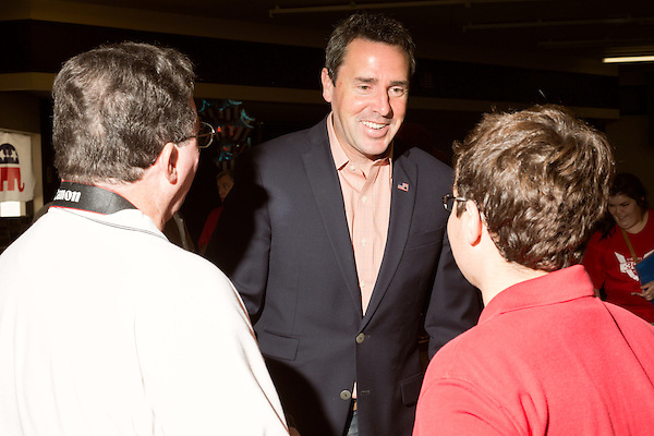 September 20, 2014. Greensboro, North Carolina.<br />  Congressional candidate Mark Walker greets rally attendees.<br />  Thom Tillis and Mark Walker hosted a rally at the Guilford County Republican Party headquarters for their supporters in the upcoming November election. Tillis, the current Speaker of the House for the NC House of Representatives, is running to take Democrat Kay Hagan's US Senate seat, while Walker, a local pastor, is running for the NC 6th District' s US Congressional seat.