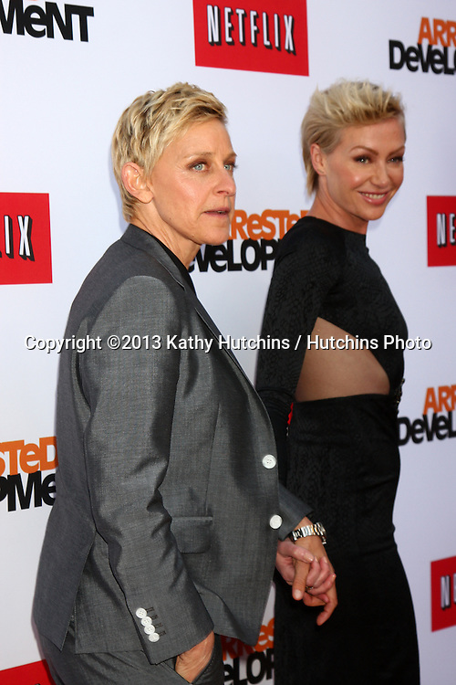 "LOS ANGELES - APR 29:  Ellen DeGeneres, Portia DeRossi arrives at the ""Arrested Development"" Los Angeles Premiere at the Chinese Theater on April 29, 2013 in Los Angeles, CA"