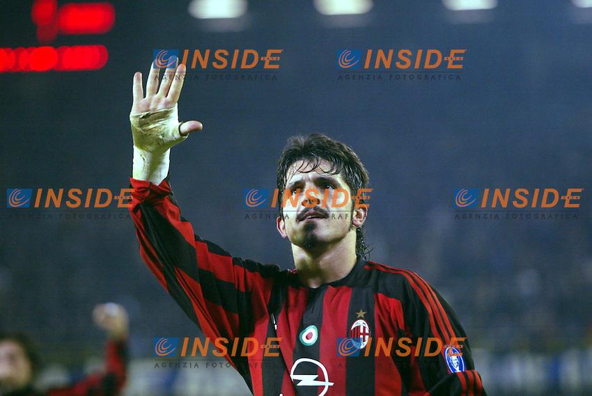 Fotball, 4. november 2003, Champions League,, Club Brugge ( Br&uuml;gge )-Milan 0-1,  Gattuso, Milan<br /> Foto Anders Hoven, Insidefoto/Digitalsport