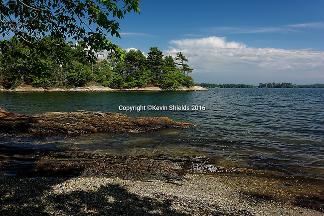 View of Googins Island, Wolfe's Neck State Park, Freeport, Maine, USA