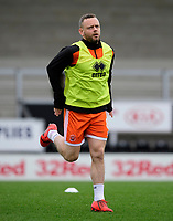 Blackpool's Jay Spearing during the pre-match warm-up<br /> <br /> Photographer Chris Vaughan/CameraSport<br /> <br /> The EFL Sky Bet League One - Burton Albion v Blackpool - Saturday 16th March 2019 - Pirelli Stadium - Burton upon Trent<br /> <br /> World Copyright &copy; 2019 CameraSport. All rights reserved. 43 Linden Ave. Countesthorpe. Leicester. England. LE8 5PG - Tel: +44 (0) 116 277 4147 - admin@camerasport.com - www.camerasport.com
