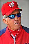 4 March 2012: Washington Nationals Manager Davey Johnson looks out from the dugout prior to a game against the Houston Astros at Space Coast Stadium in Viera, Florida. The Astros defeated the Nationals 10-2 in Grapefruit League action. Mandatory Credit: Ed Wolfstein Photo