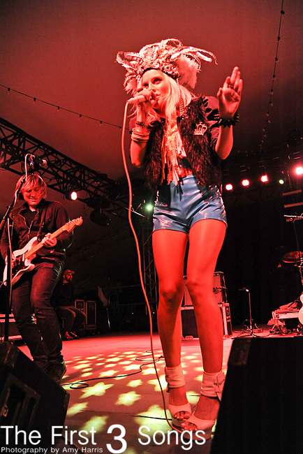 Rachel Vette of The Vettes performs during Day 1 of the Voodoo Experience at City Park in New Orleans, Louisiana on October 28, 2011.
