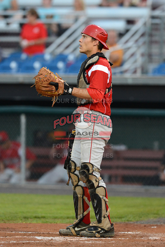 Batavia Muckdogs catcher Michael Vaughn (7) during a game against the Auburn Doubledays on August 28, 2013 at Falcon Park in Auburn, New York.  Batavia defeated Auburn 3-0.  (Mike Janes/Four Seam Images)