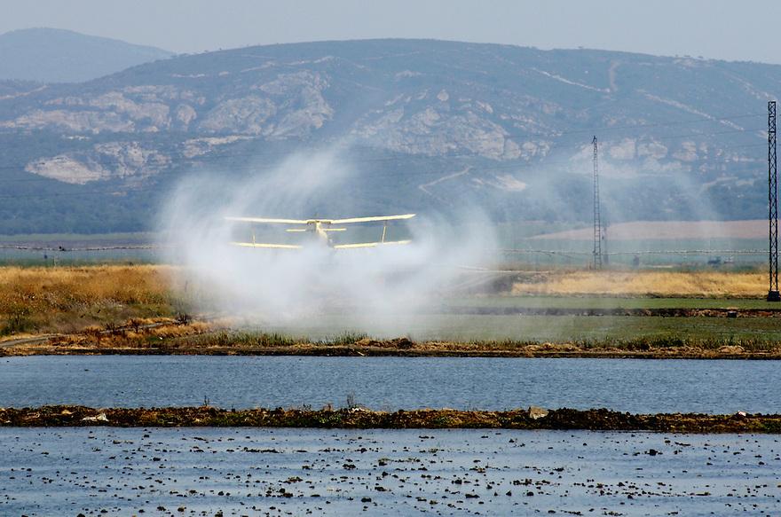 Spanje, zuid spanje, omgeving Sevilla  juni2005. <br /> Vliegtuig bespuit rijstvelden in zuid spanje. Insecticiden, chemische bestrijdingsmiddelen, spuiten, sproeien<br /> <br /> ..Foto(c)Michiel Wijnbergh, Driebergen.