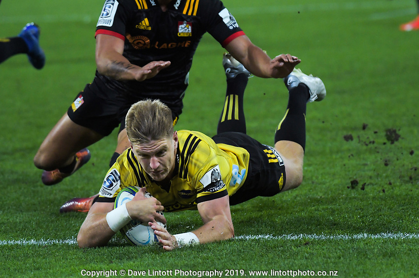 Jordie Barrett scores his second try during the Super Rugby match between the Hurricanes and Chiefs at Westpac Stadium in Wellington, New Zealand on Friday, 27 April 2019. Photo: Dave Lintott / lintottphoto.co.nz
