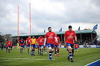 The Bath Rugby team leave the field after the pre-match warm-up. Aviva Premiership match, between Saracens and Bath Rugby on April 15, 2018 at Allianz Park in London, England. Photo by: Patrick Khachfe / Onside Images