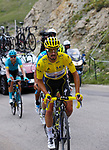 Yellow Jersey Julian Alaphilippe (FRA) Deceuninck-Quick Step loses time as he climbs the Col d'Iseran during Stage 19 of the 2019 Tour de France originally running 126.5km from Saint-Jean-de-Maurienne to Tignes but cut short to 88.5 km, France. 26th July 2019.<br /> Picture: John Pierce/PhotoSport Int | Cyclefile<br /> All photos usage must carry mandatory copyright credit (© Cyclefile | John Pierce/PhotoSport Int)