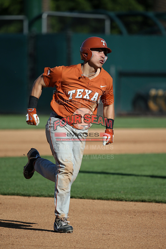 Tres Barrera (1) of the Texas Longhorns runs the bases during a game against the UCLA Bruins at Jackie Robinson Stadium on March 12, 2016 in Los Angeles, California. UCLA defeated Texas, 5-4. (Larry Goren/Four Seam Images)