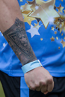 MASON NOISE (X FACTOR 2015) tattoo during the SOCCER SIX Celebrity Football Event at the Queen Elizabeth Olympic Park, London, England on 26 March 2016. Photo by Andy Rowland.