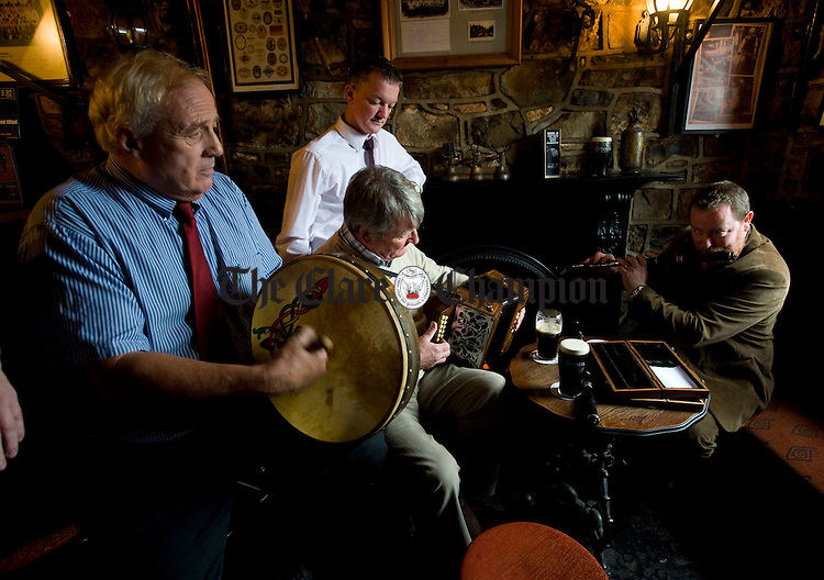 Paddy Brogan, Brogans Bar, Jeff Spellman, The Old Ground Hotel,  PJ King and John Rynne, Ennis Trad Fest chairman getting ready for the Ennis Trad Festival which starts on November 5th this year. Photograph by John Kelly.