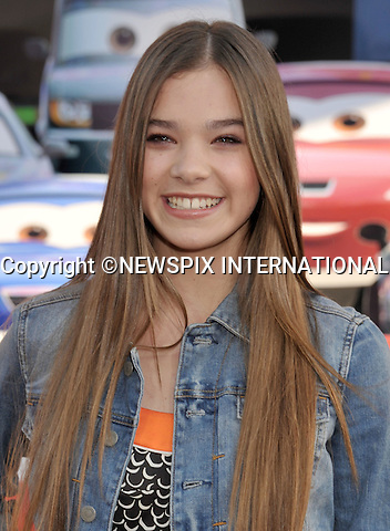 """HAILEE STEINFELD.attends the World Premiere of Disney Pixar's """"Cars 2"""" at the El Capitan Theatre on June 18, 2011 in Hollywood, California_18/06/201.Mandatory Photo Credit: ©Crosby/Newspix International. .**ALL FEES PAYABLE TO: """"NEWSPIX INTERNATIONAL""""**..PHOTO CREDIT MANDATORY!!: NEWSPIX INTERNATIONAL(Failure to credit will incur a surcharge of 100% of reproduction fees).IMMEDIATE CONFIRMATION OF USAGE REQUIRED:.Newspix International, 31 Chinnery Hill, Bishop's Stortford, ENGLAND CM23 3PS.Tel:+441279 324672  ; Fax: +441279656877.Mobile:  0777568 1153.e-mail: info@newspixinternational.co.uk"""