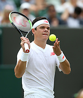 Milos Raonic (CAN) during his match against John Millman (AUS)<br /> <br /> Photographer Rob Newell/CameraSport<br /> <br /> Wimbledon Lawn Tennis Championships - Day 3 - Wednesday 4th July 2018 -  All England Lawn Tennis and Croquet Club - Wimbledon - London - England<br /> <br /> World Copyright &not;&uml;&not;&copy; 2017 CameraSport. All rights reserved. 43 Linden Ave. Countesthorpe. Leicester. England. LE8 5PG - Tel: +44 (0) 116 277 4147 - admin@camerasport.com - www.camerasport.com