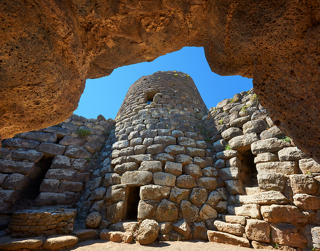 Picture and image of the central courtyard and prehistoric magalith ruins of Santu Antine Nuraghe tower, archaeological site, Bronze age (19-18th century BC), Torralba, Sardinia.