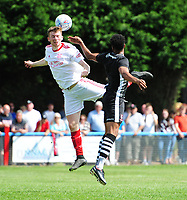 Lincoln United's Luke Anderson vies for possession with Lincoln City's Matt Green<br /> <br /> Photographer Chris Vaughan/CameraSport<br /> <br /> Football - Pre-Season Friendly - Lincoln United v Lincoln City - Saturday 8th July 2017 - Sun Hat Villas Stadium - Lincoln<br /> <br /> World Copyright &copy; 2017 CameraSport. All rights reserved. 43 Linden Ave. Countesthorpe. Leicester. England. LE8 5PG - Tel: +44 (0) 116 277 4147 - admin@camerasport.com - www.camerasport.com
