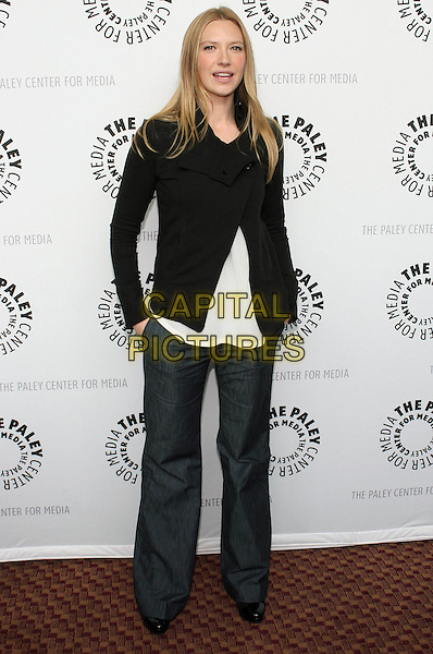 "ANNA TORV.The 26th Annual William S. Paley Television Festival presents ""Fringe"" held at the ArcLight Cinemas, Hollywood, California, USA..April 23rd, 2009.full length black jacket jeans denim white .CAP/ADM/TC.©T. Conrad/AdMedia/Capital Pictures."